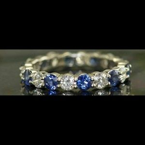 Natural 1.5 CT Blue Sapphire Diamond Eternity Band